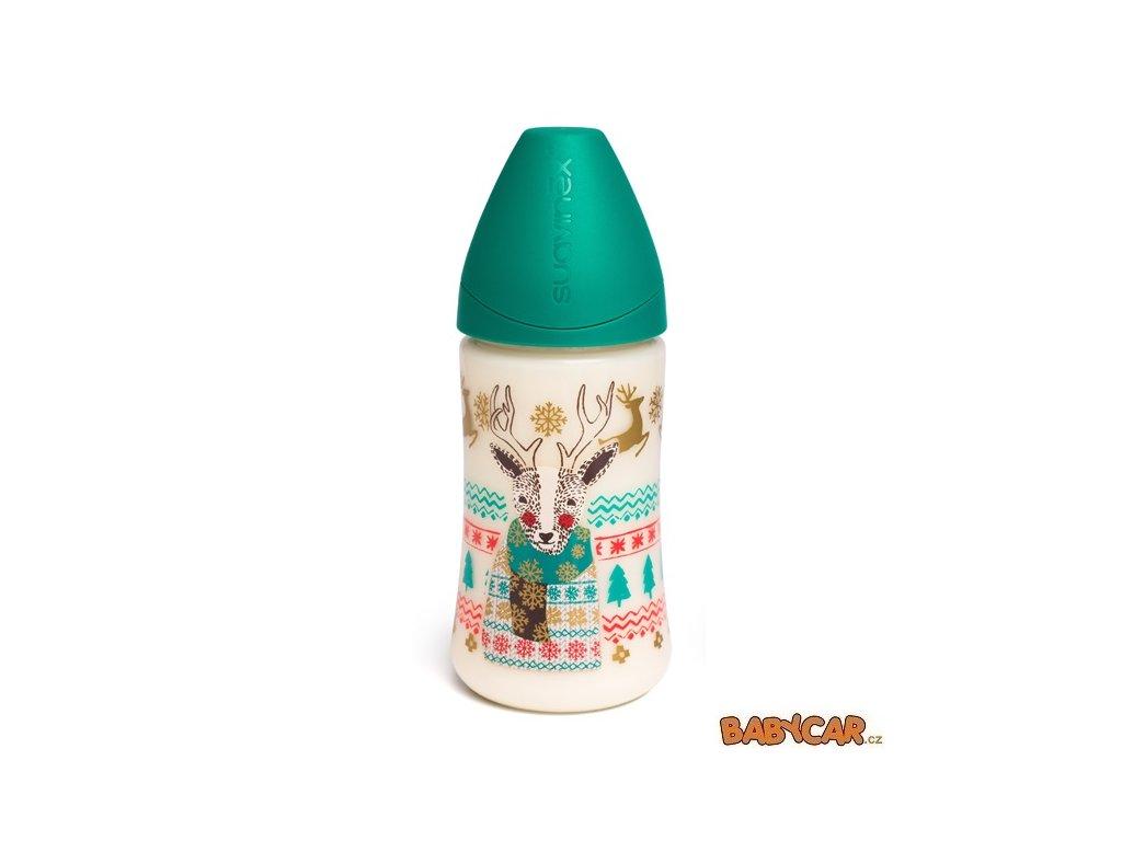 SUAVINÉX láhev se širokým hrdlem ZIMA 270ml Zelená
