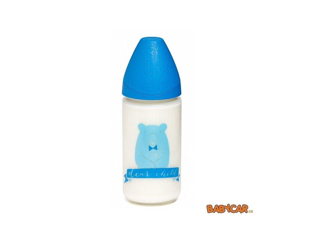 SUAVINÉX skleněná láhev MFL 240ml Méďa/Modrá