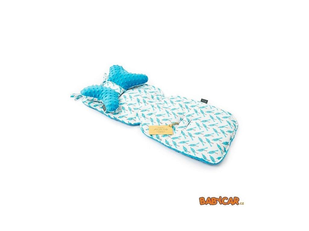 FLOO FOR BABY vložka do kočárku + polštářek Bluebird