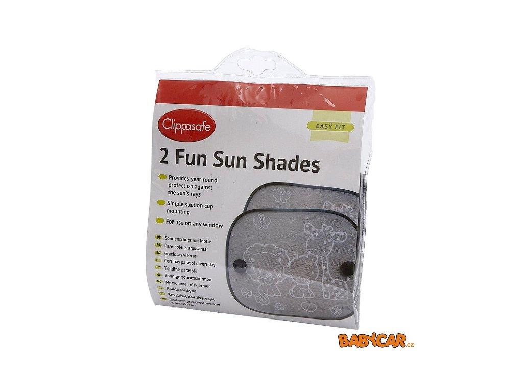 CLIPPASAFE sluneční roleta s přísavkou 2ks Black/Safari