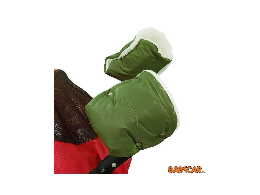EMITEX rukavice ke kočárku Khaki/Bílá Kožich