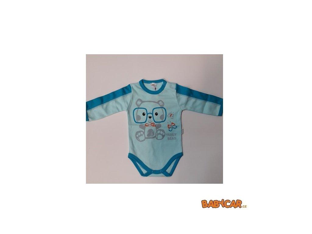 AUTEX BABY bavlněné body s dlouhým rukávem Modrá/Medvídek vel. 68 DOPRODEJ!