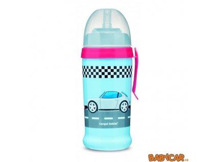 CANPOL BABIES sportovní láhev se silikonovou nevylévací slámkou AUTA Modrá/Růžová
