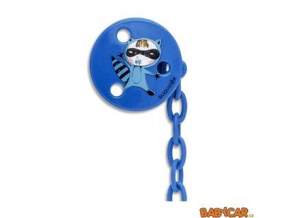 SUAVINÉX klip na dudlík KULATÝ Kočka/Modrá