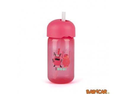 SUAVINÉX láhev s brčkem BOOO 340ml Růžová