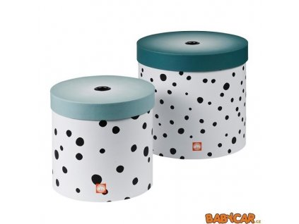 DONE BY DEER set kulatých úložných boxů HAPPY DOTS 2ks Modrá
