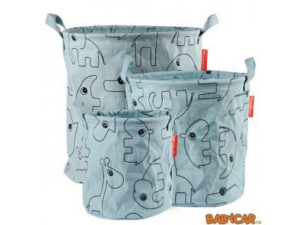 DONE BY DEER set měkkých odkládacích košíků CONTOUR 3ks Modrá