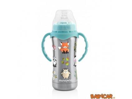 MINILAND termoizolační kojenecká láhev THERMO BABY 180ml Šedá