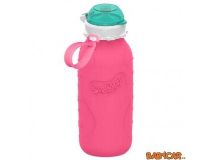 SQUEASY GEAR silikonová láhev 480ml Růžová