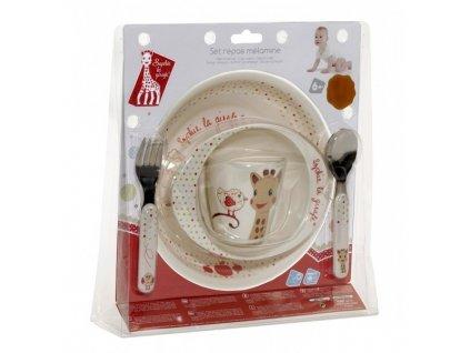 VULLI jídelní set ŽIRAFA SOPHIE (talíř, miska, hrnek, lžička, vidlička) PTÁČEK KIWI
