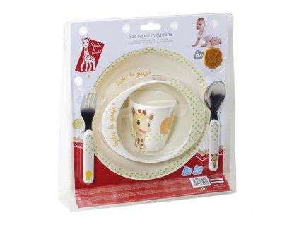 VULLI jídelní set ŽIRAFA SOPHIE (talíř, miska, hrnek, lžička, vidlička) JABLÍČKO