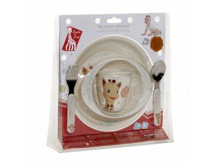 VULLI jídelní set ŽIRAFA SOPHIE (talíř, miska, hrnek, lžička, vidlička) BALÓNKY