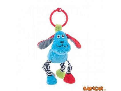 CANPOL BABIES plyšový přívěšek zvířátko s pruhovanýma nohama Pejsek/Modrá