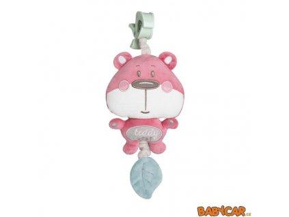 CANPOL BABIES plyšová hrací skříňka PASTEL FRIENDS Medvídek/Růžová