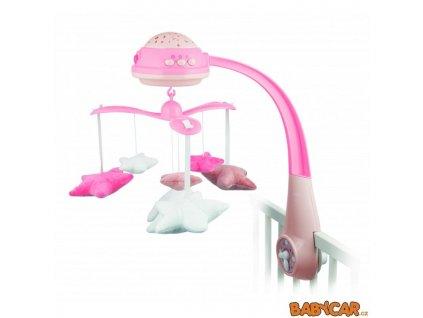 CANPOL BABIES plyšový kolotoč s projektorem HVĚZDIČKY Růžová