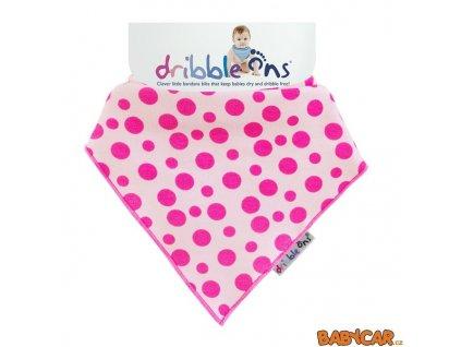 DRIBBLE ONS slintáček/šátek DESIGNER Pink Spots