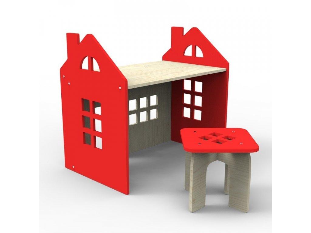 Dětský stoleček se židličkou Domeček dřevěný (Barva Modrá)