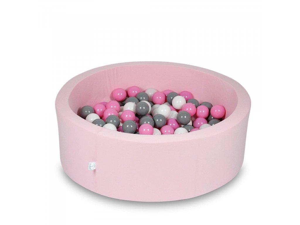 Suchý bazének + 200 ks kuliček kulatý, pudrová růžová (Rozměr 90x40 cm)