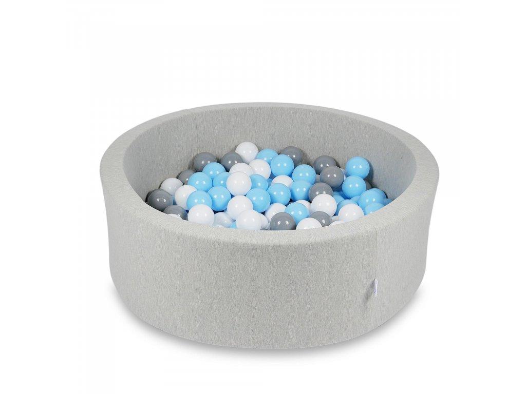 Suchý bazének + 200 ks kuliček kulatý, světle šedý (Rozměr 90x40 cm)