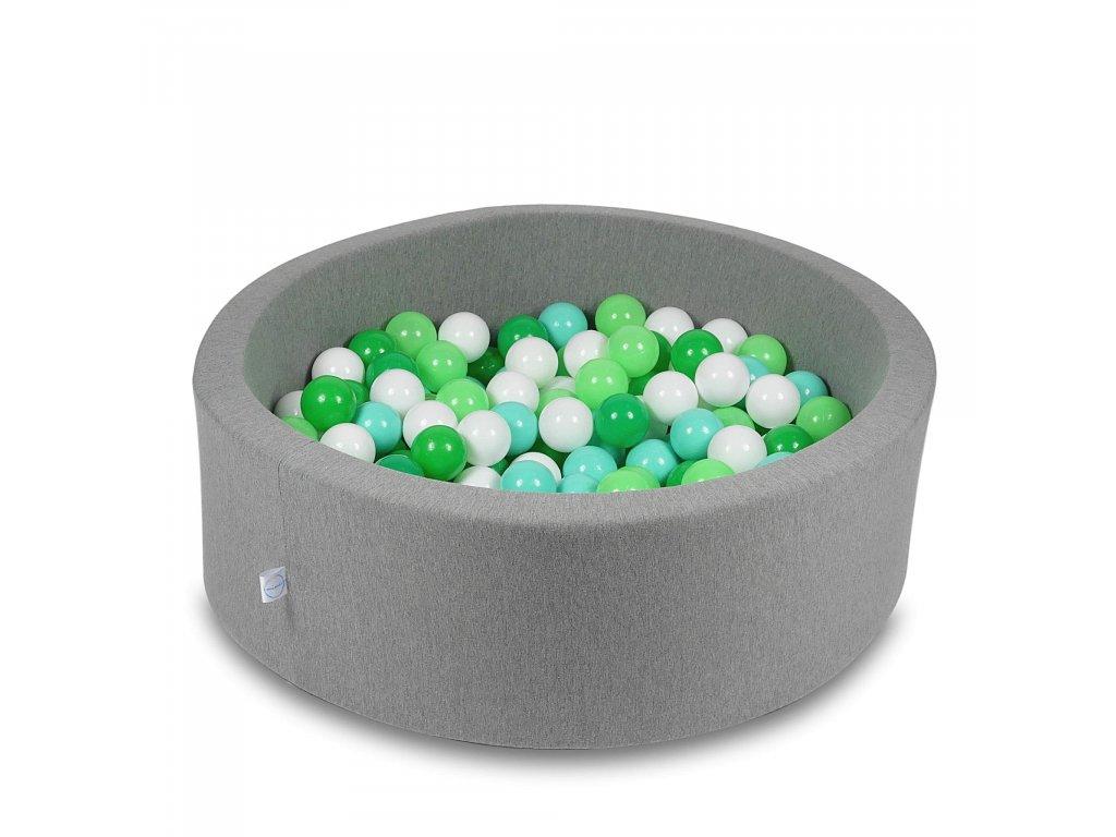 Suchý bazének + 200 ks kuliček kulatý, tmavě šedý (Rozměr 90x40 cm)