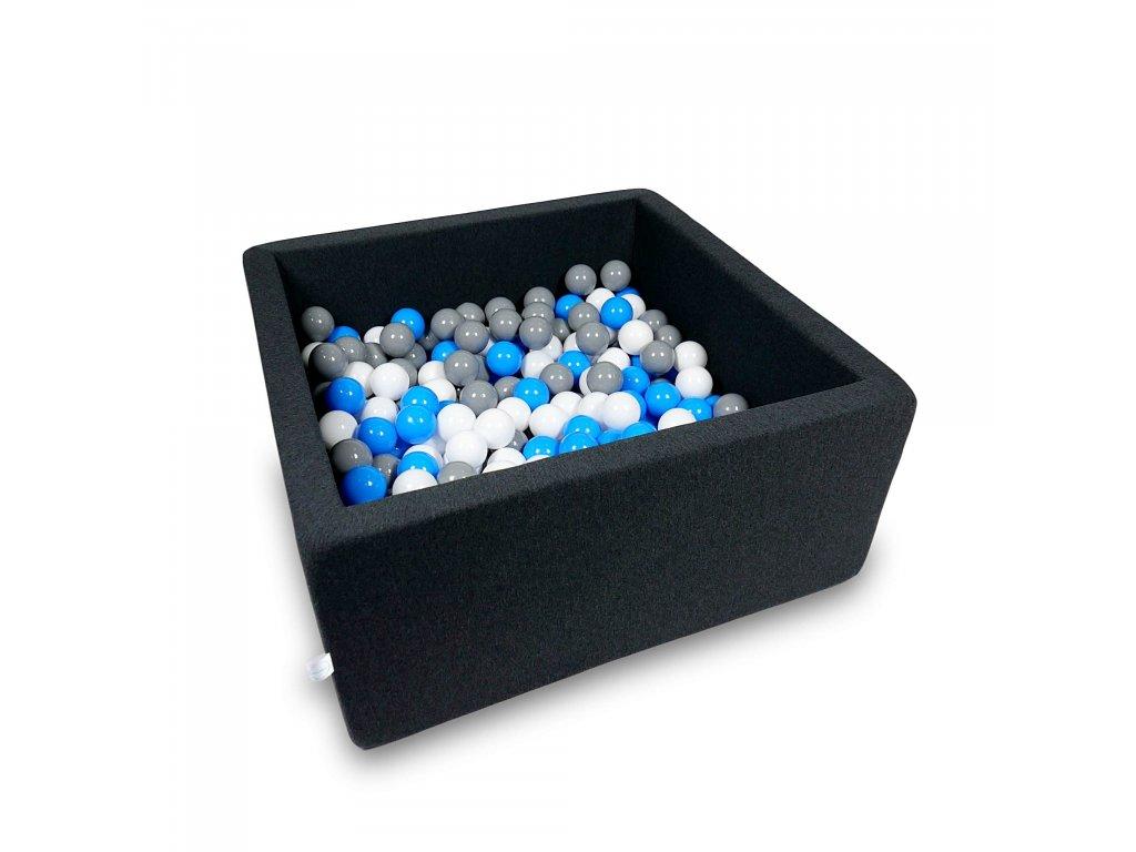 Suchý bazének + 400 ks kuliček hranatý, grafitový (Rozměr 90x90x40 cm)