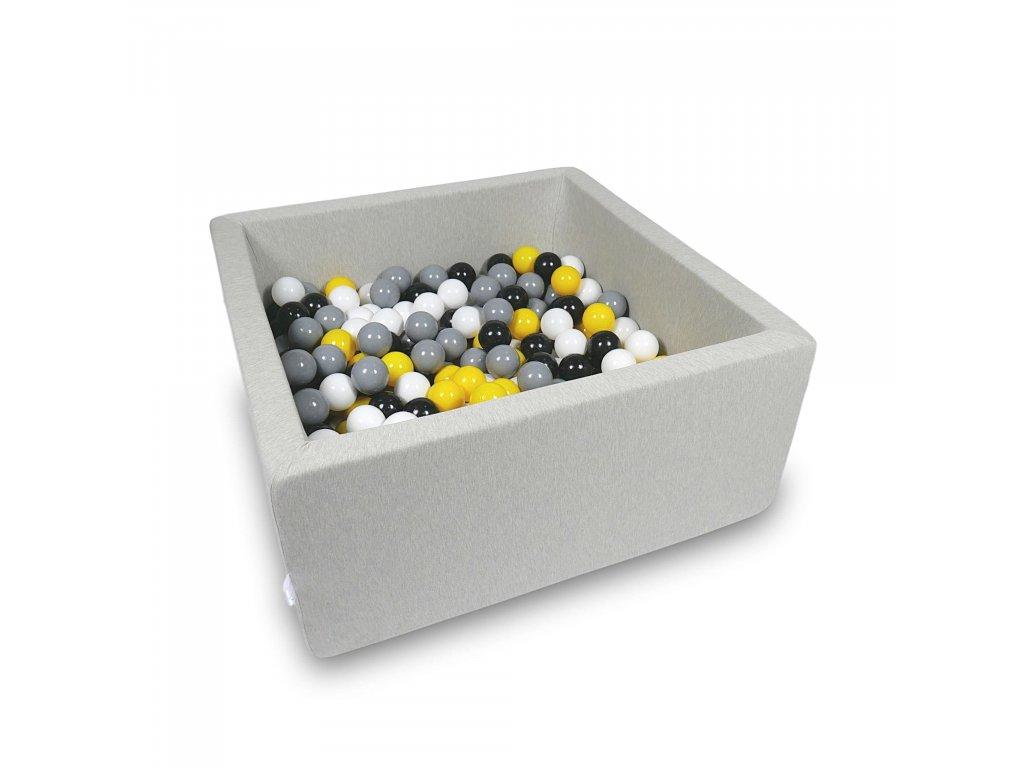 Suchý bazének + 400 ks kuliček hranatý, světle šedý (Rozměr 90x90x40 cm)