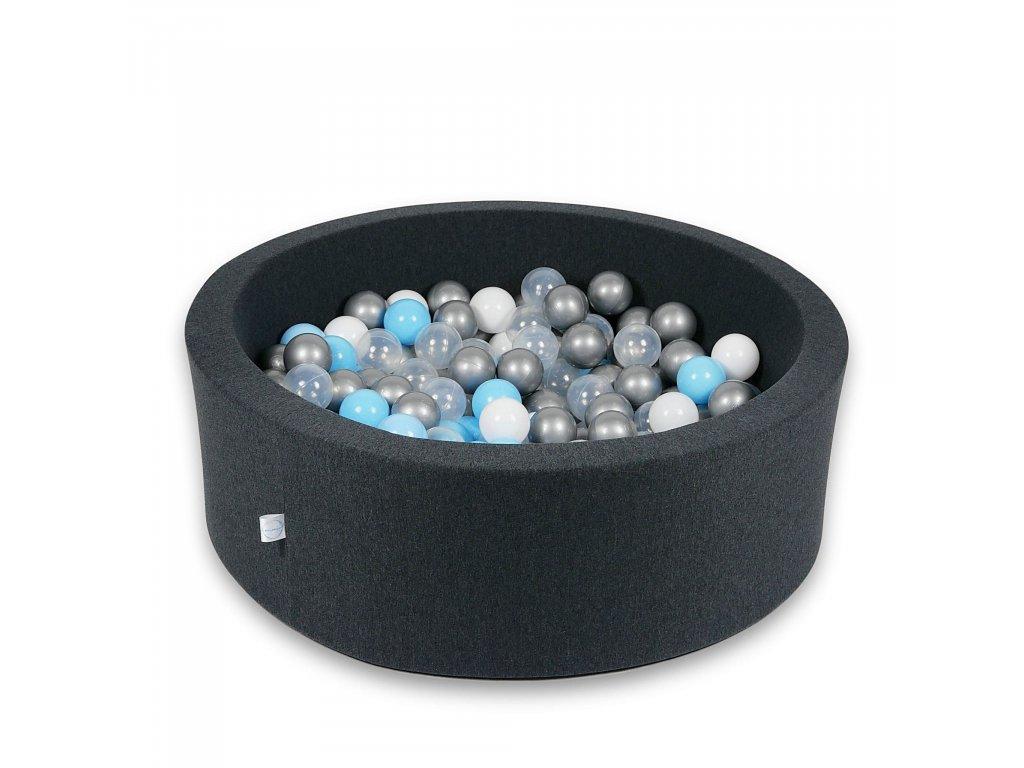 Suchý bazének + 400 ks kuliček kulatý, grafitový (Rozměr 90x40 cm)