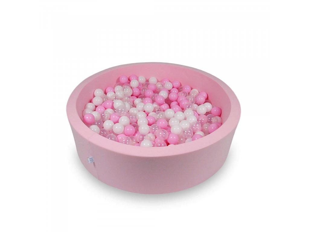 Suchý bazének + 400 ks kuliček kulatý, pudrová růžová (Rozměr 90x40 cm)