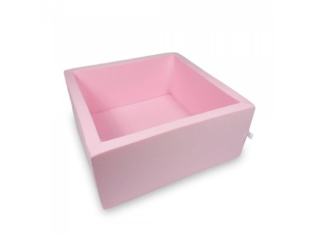 Suchý bazének bez kuliček hranatý, pudrová růžová (Rozměr 90x90x40 cm)