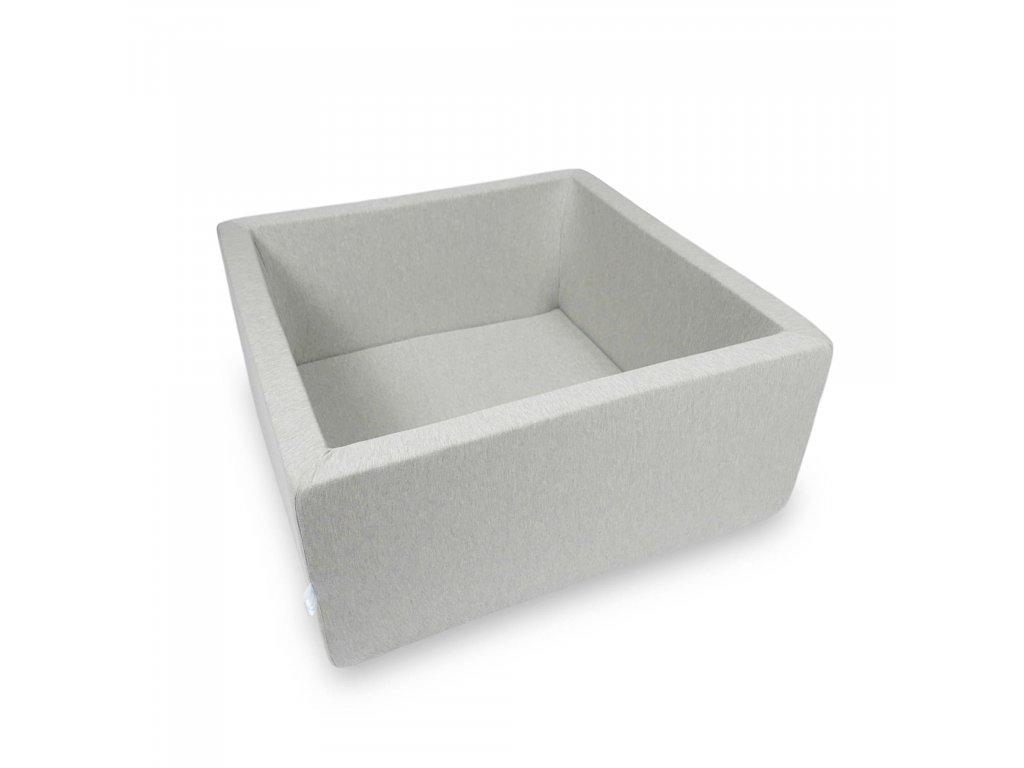 Suchý bazének bez kuliček hranatý, světle šedý (Rozměr 90x90x40 cm)