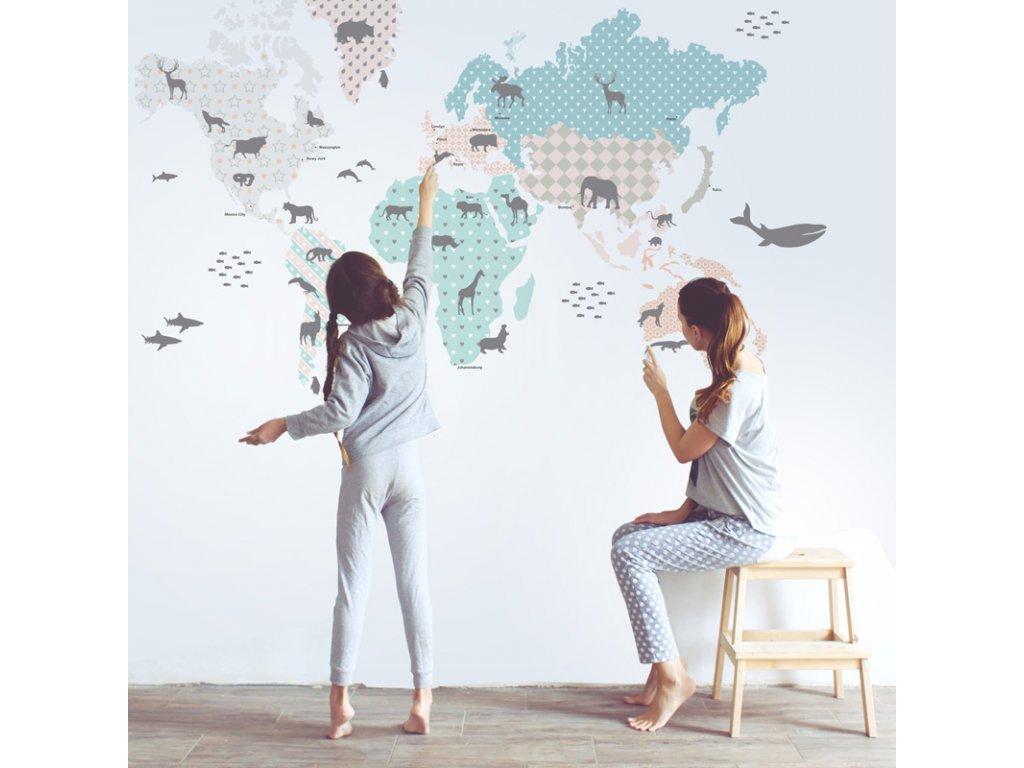 Samolepka na zed Mapa sveta pastel