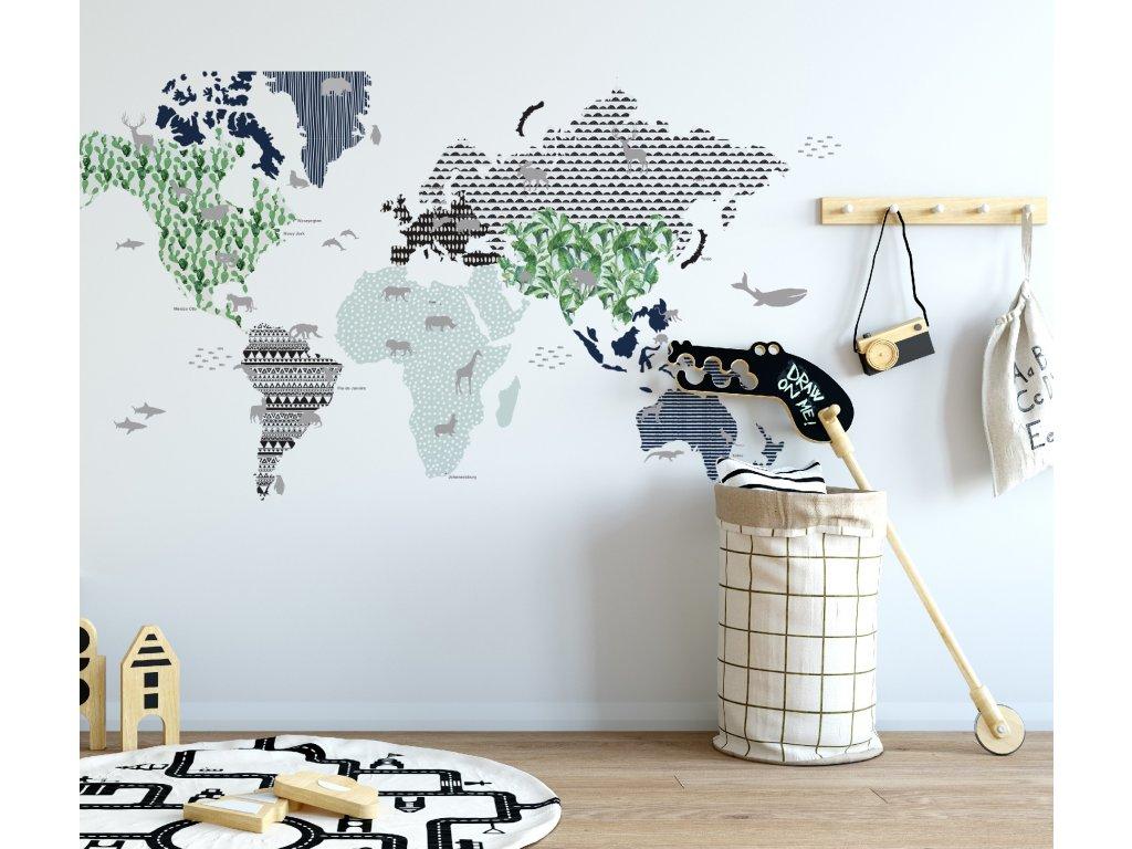 Samolepka na zed mapa sveta namor modra