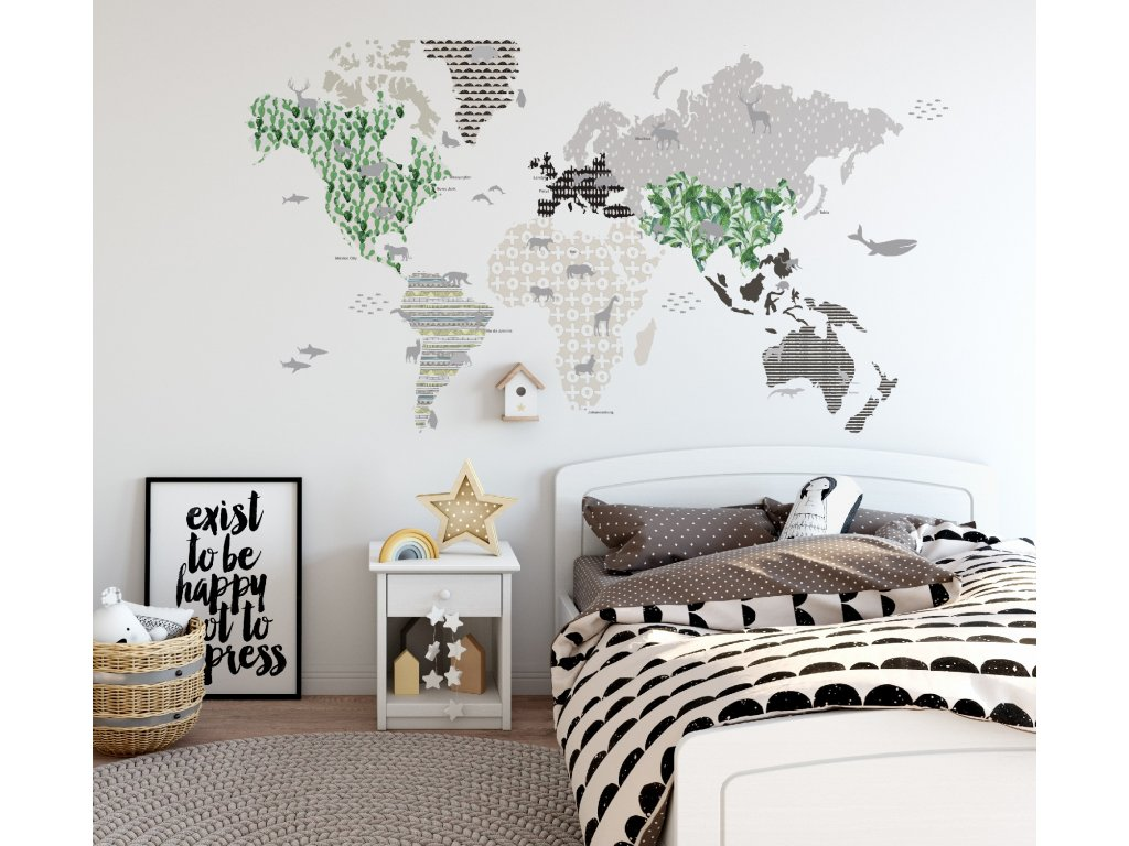 Samolepka na zed mapa sveta hneda