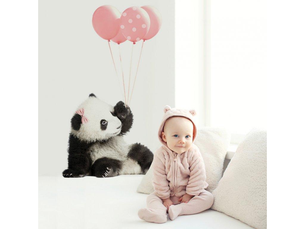Samolepka na zed Panda ruzova