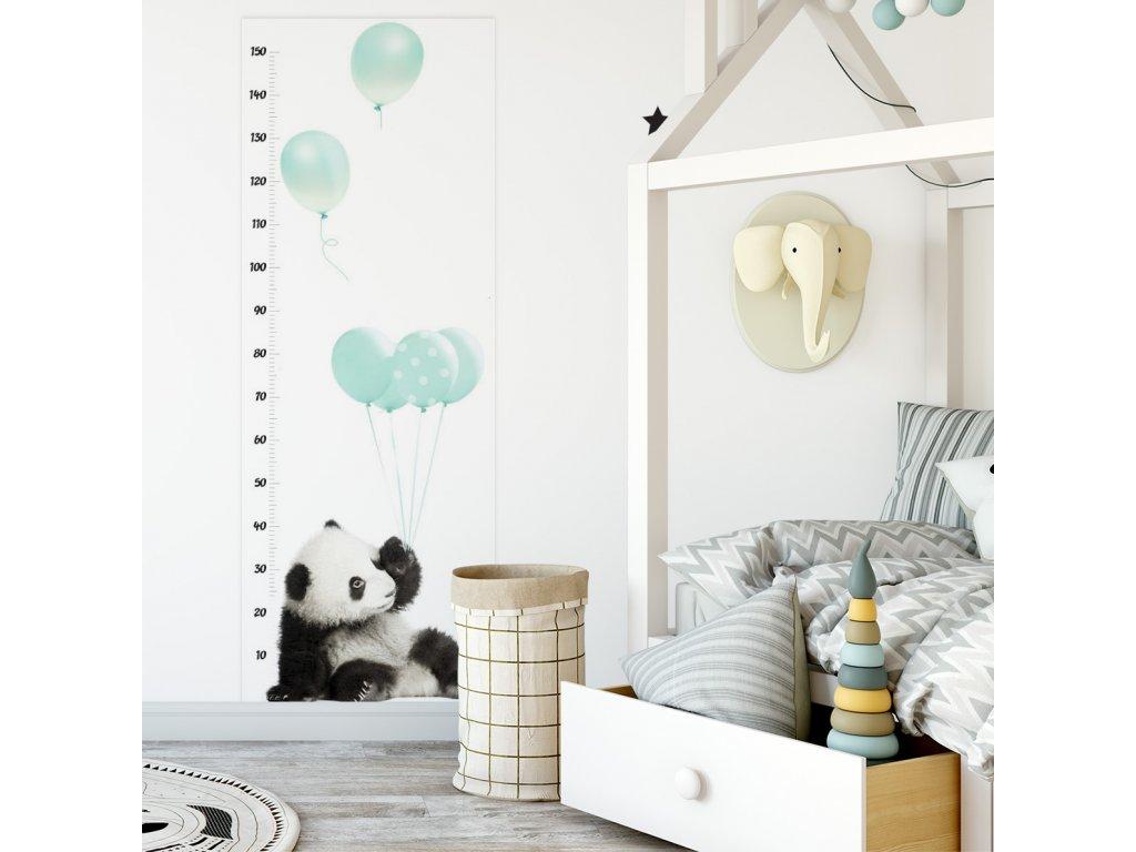 Samolepka na zed Metr panda minty