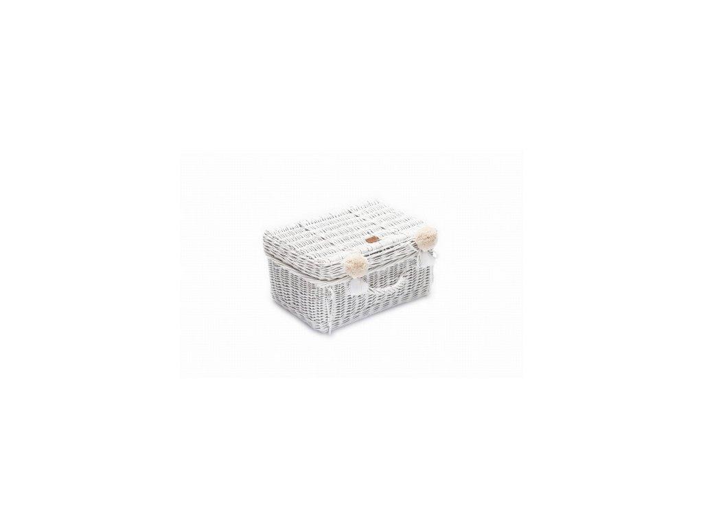 Proutěný kufřík bílý, 41 x 29x 20 cm