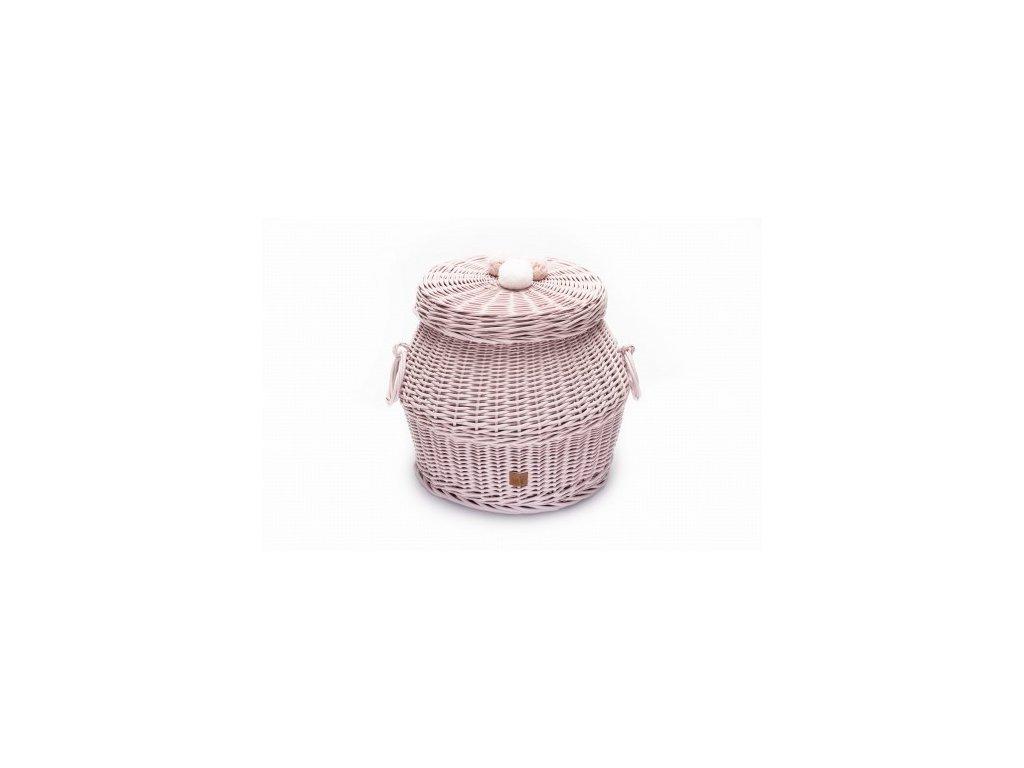 Proutěný košík s víkem malý pudrová růžová, 33 x 30 cm