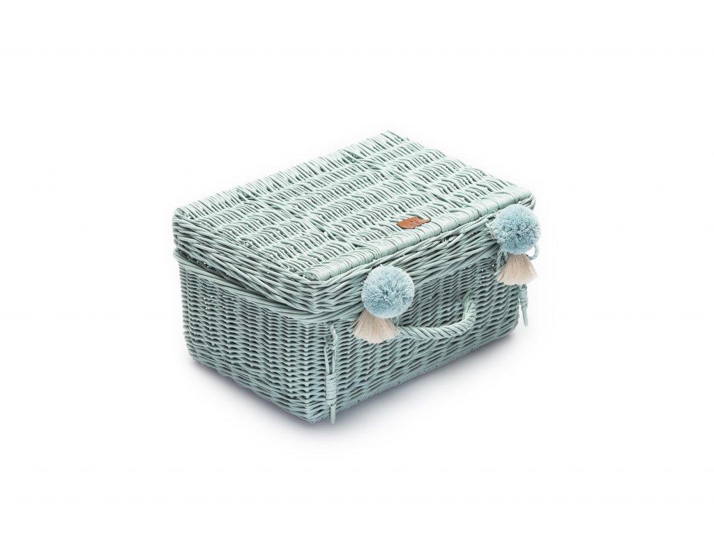 Proutěný kufřík pudrový mintový, 41 x 29x 20 cm