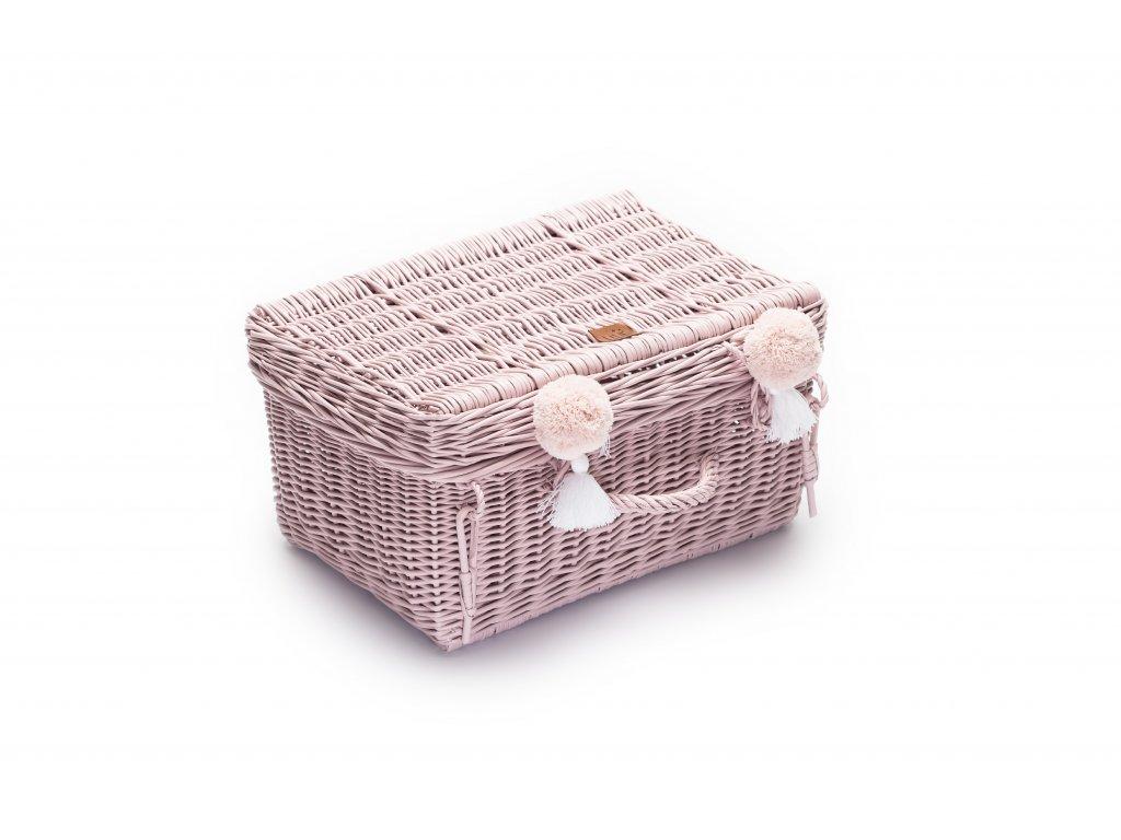 Proutěný kufřík pudrová růžová, 41 x 29x 20 cm
