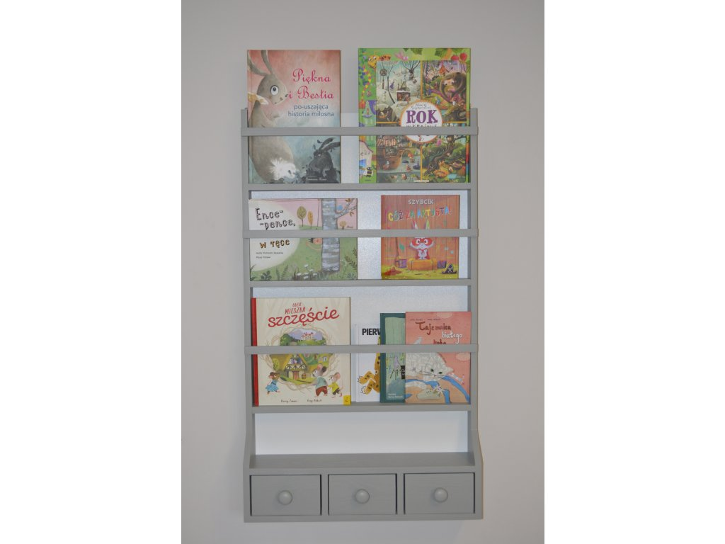 Knihovna BabyDeco šedá malá, 80 x 60 cm