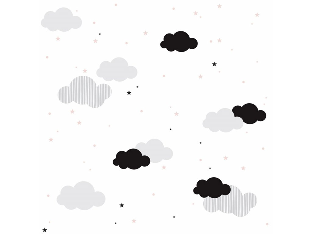 Clouds and pink stars tapeta 001