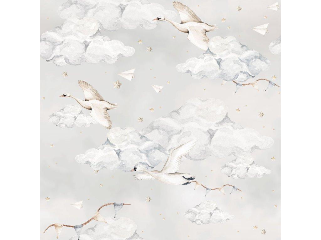 Magic Swans Blue Wallpaper 001