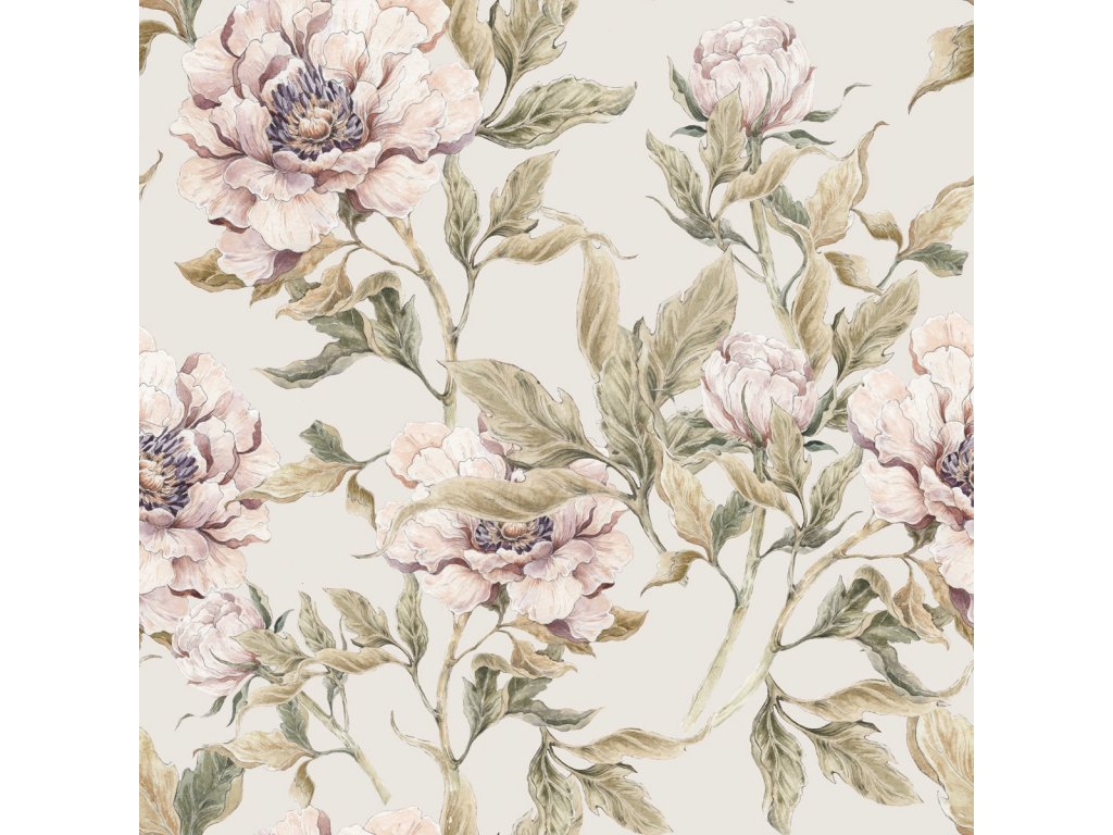 Peonies beige wallpaper 001