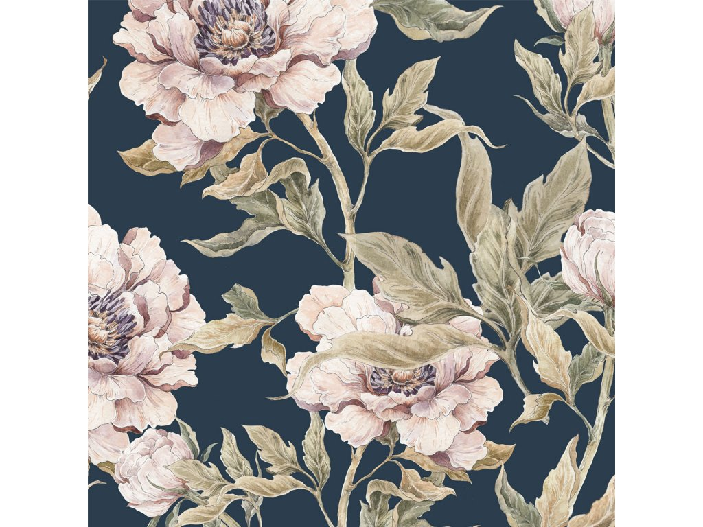 Peonies Navy Blue Wallpaper 001
