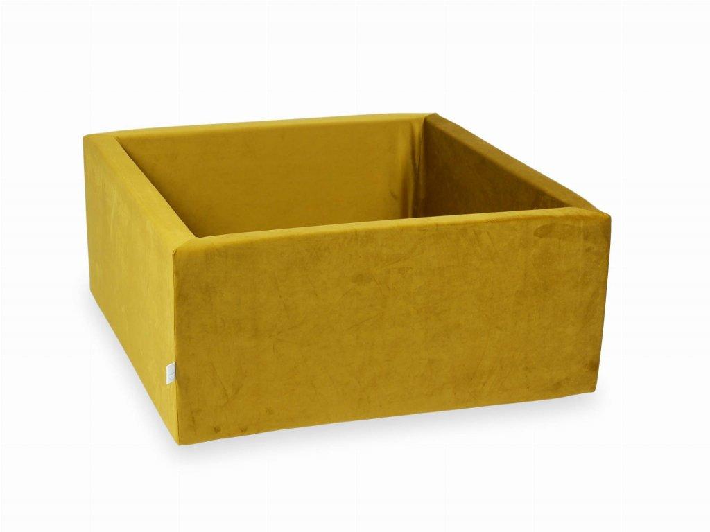 Suchý bazének bez kuliček hranatý, samet žlutá