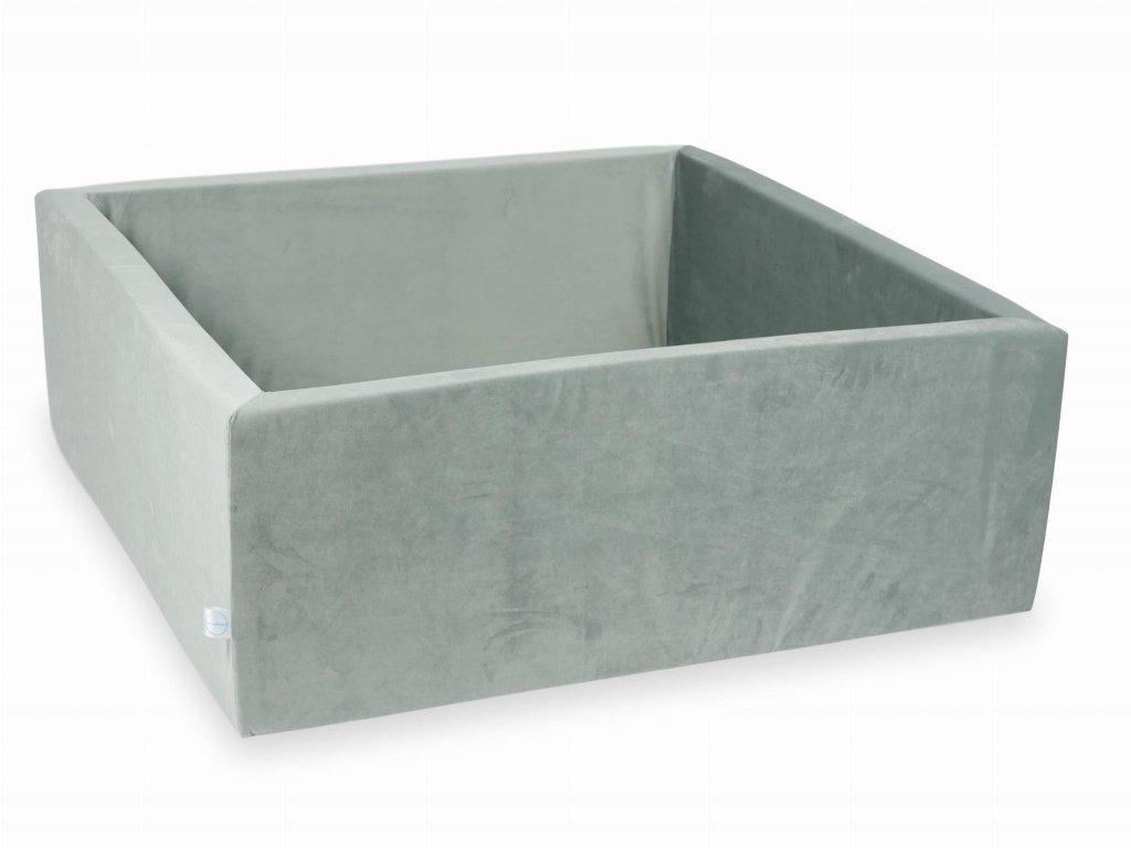 Suchý bazének bez kuliček hranatý, samet šedá