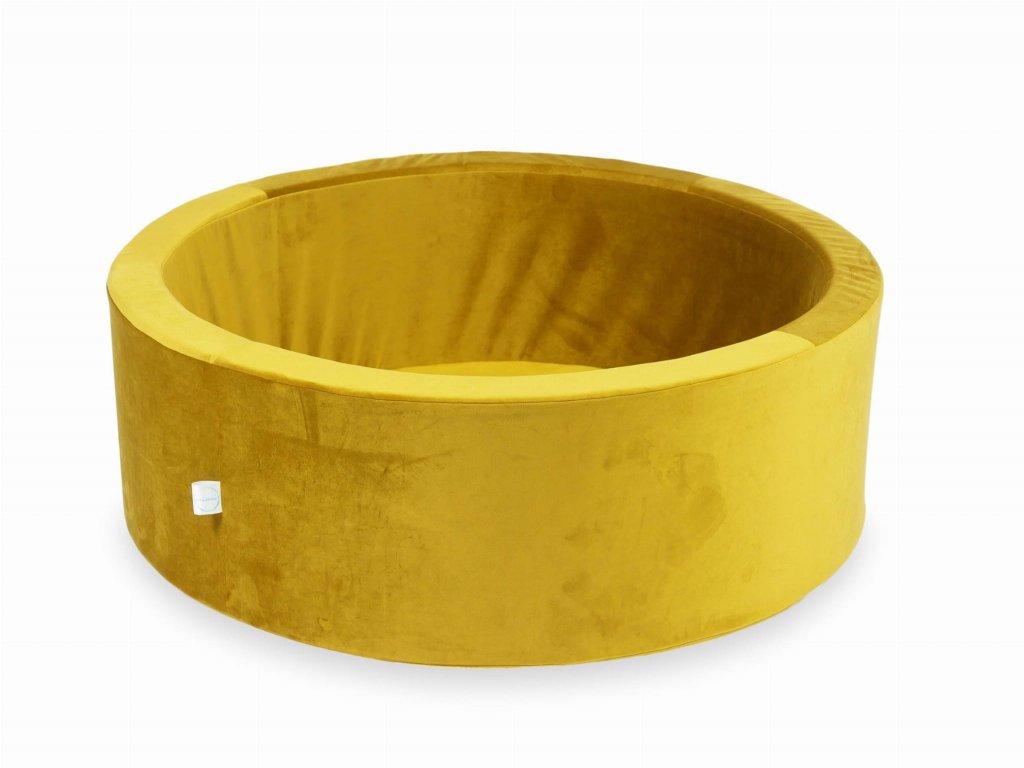 Suchý bazének bez kuliček kulatý, samet žlutá