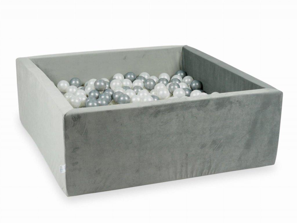 Suchý bazének + 200 ks kuliček hranatý, samet šedá