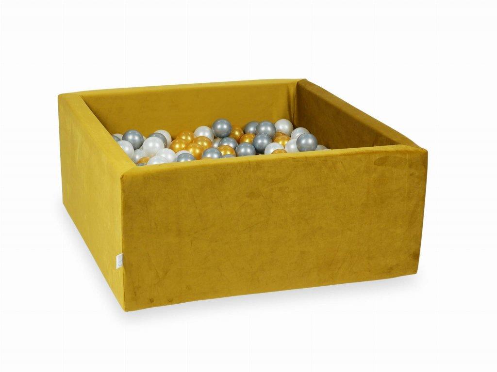 Suchý bazének + 400 ks kuliček hranatý, samet žlutá