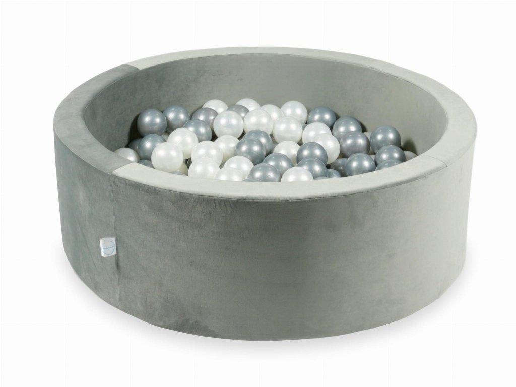 mimii suchy basen 90x30 velvet szary 200 pilek perlowe srebrne ve016